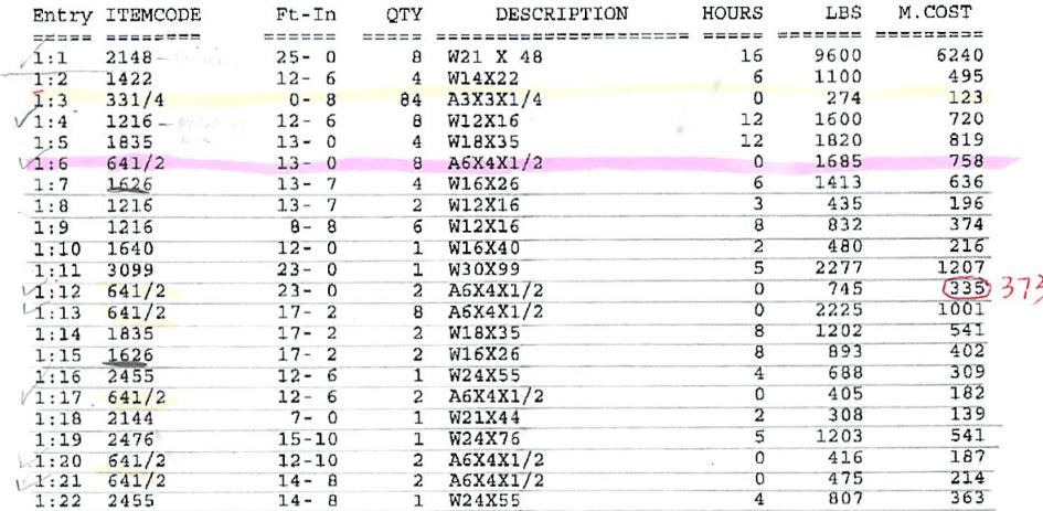 Original MS-DOS-based Structural Steel Estimating System Output